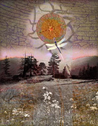 "Solar Eclipse on Beetle Rock"" digital painting © Elsah Cort"